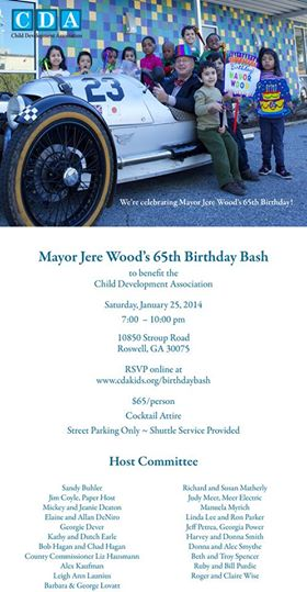 Mayor Jere Wood 65th Birthday Bash to Benefit the Child Development Association